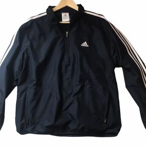 HP🎉Adidas Blue Men's Quarter Zip 3 Stripes Jacket